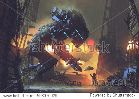 kid giving umbrella to giant robot in the rainy night illustration painting
