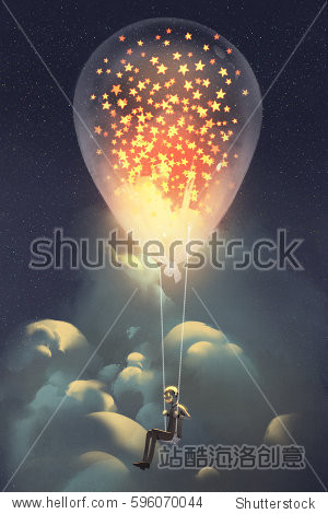 man and big balloon with glowing stars inside floating in the sky at night illustraion painting