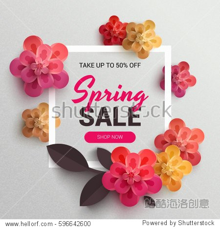 Web Wanner with red paper flowers for spring sales. Vector illustration of realistic flowers  can be used in the magazine  online   store leaflets