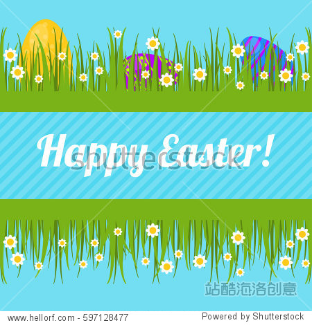 Happy easter! Greeting card with Easter eggs hidden in the grass. Vector illustration
