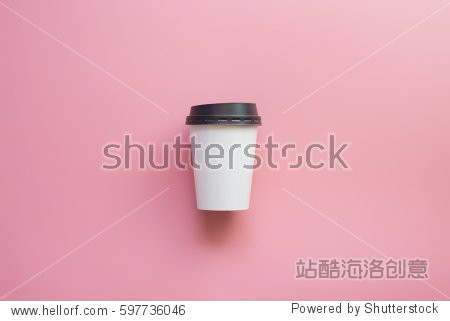Flat lay design of Hot coffee cup on Pink pastel background.