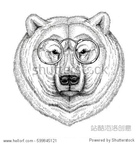 Cool fashionable polar bear Image for tattoo  logo  emblem  badge design