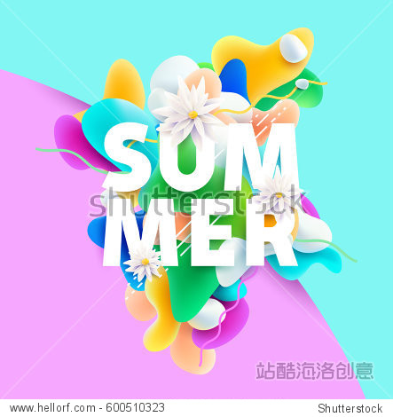 Bright summer poster with inscription and flowers