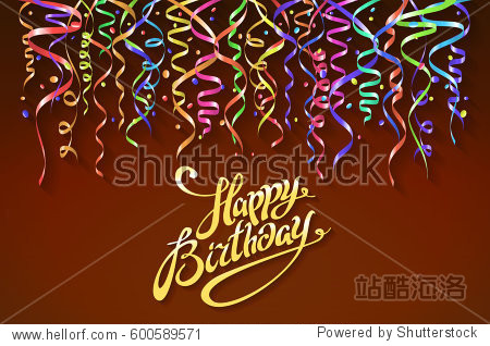 happy birthday sign design background. Birthday background with colorful confetti vector art
