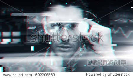 cyberspace  augmented reality  technology and people - man in 3d glasses with virtual screens over glitch effect