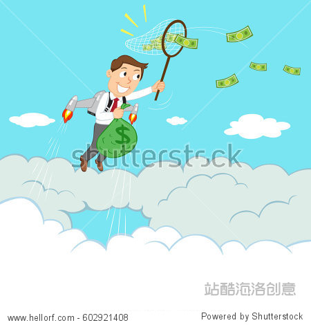 Businessman flying with jetpack to catch flying money  vector illustration cartoon