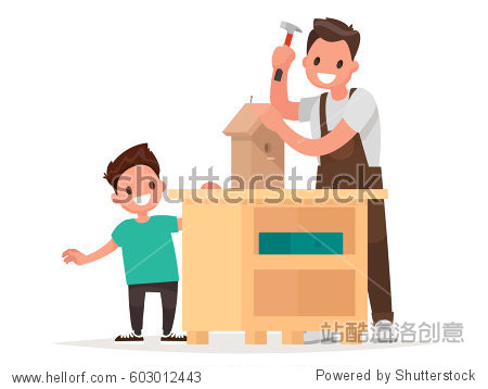 Father and son make a birdhouse. Vector illustration in a flat style