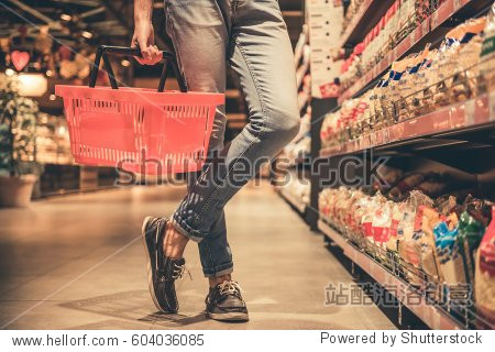 Cropped image of handsome man with a market basket doing shopping at the supermarket