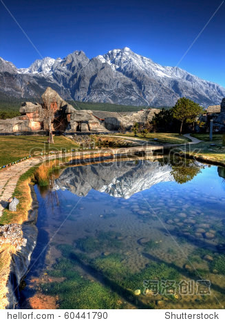 Jade dragon snow mount with reflection at Lijiang, yunnan, southern china