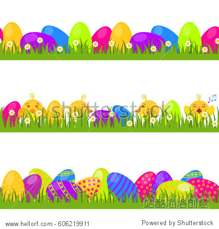 Happy easter! Set of vector seamless decorative borders  dividers and ornaments with Easter eggs  chickens  hiding in the grass. Design elements.