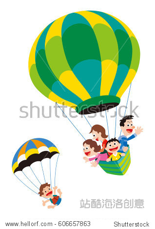 Families enjoying with hot air balloon and paragliding