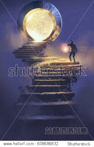 man with a lantern walking on stone staircase leading up to fantasy gate illustration painting