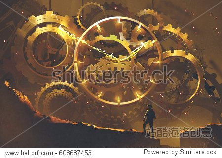 man standing in front of the big golden clockwork illustration painting