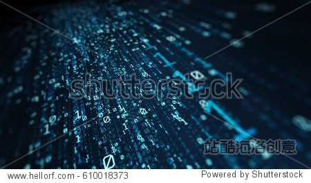 3D illustration.  Blue bytes of binary code flying through a vortex  background code depth of field/Binary code  background