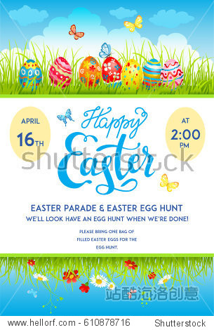 Easter eggs poster template