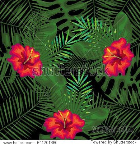 tropical flowers decorative card