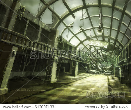 digital illustration of destroyed abandoned shopping mall interior view environment landscape