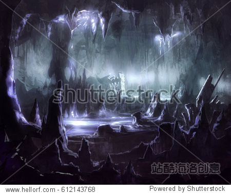 digital illustration of underground stalactites cave tunnel system with silver shining water