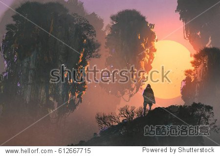 surreal scenery of man standing on rock of mountain looking at floating islands  illustration painting