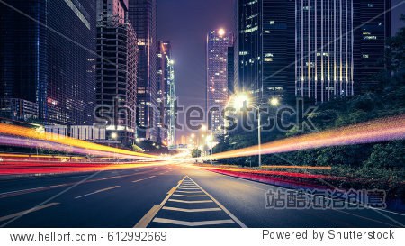 the traffic light trails of city