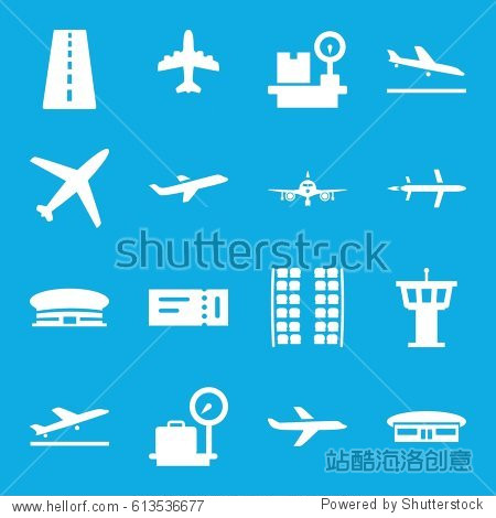 Plane icons set. set of 16 plane filled icons such as runway  ticket  lugagge weight  airport