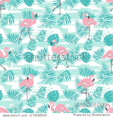 Tropical seamless pattern with pink flamingos and green palm leaves. Vector design for fabric  wrap paper or wallpaper. Exotic Hawaii art background.