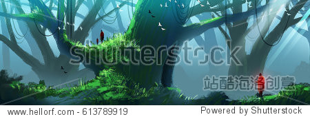 Digital illustration painting - a family in the woods  huge trees and mist.
