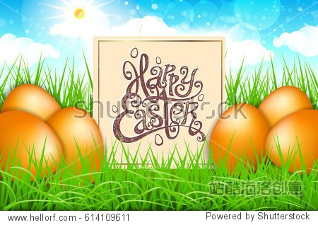 orange eggs in a field of grass with blue sky. happy easter lettering modern calligraphy  vector art