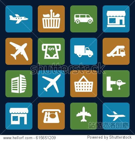 Commercial icons set. set of 16 commercial filled icons such as store  truck crane  jetway  ATM money withdraw  van  business center  plane  delivery car