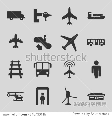 Passenger icons set. set of 16 passenger filled icons such as plane  airport bus  metal gate detector  escalator down  jetway  airport  railway  helicopter  bus  ship