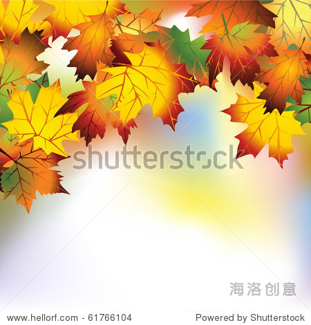 Vector autumn background with colorful leaves