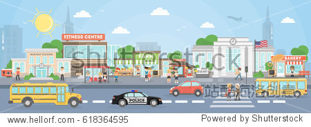 City street exterior. American city with court  fitness center and school bus  police car and stores.