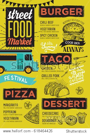 Street food festival menu. Design template with hand-drawn graphic elements in doodle style.