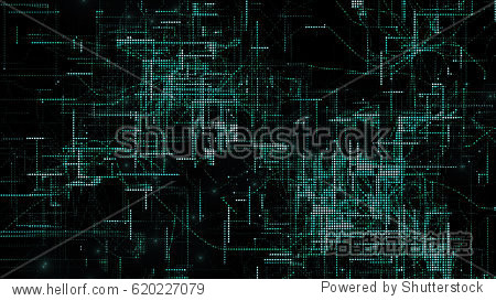 3D rendering digital matrix particles grid virtual reality abstract cyber space environment background