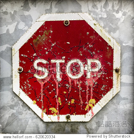 Octagon shaped stop traffic sign