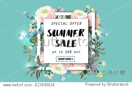 Summer sale background with flowers  ranunculus  succulent  eucalyptus. EPS10 vector illustration template. Banner  flyer  invitation  posters  brochure  voucher discount. Advertising