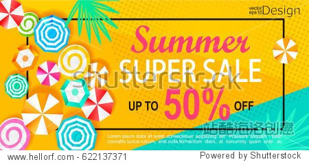 Summer super sale banner with sun umbrellas on background. Vector illustration template and banners  wallpaper  flyers  invitation  posters  brochure  voucher discount.