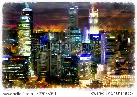 Colorful painting of night cityscape