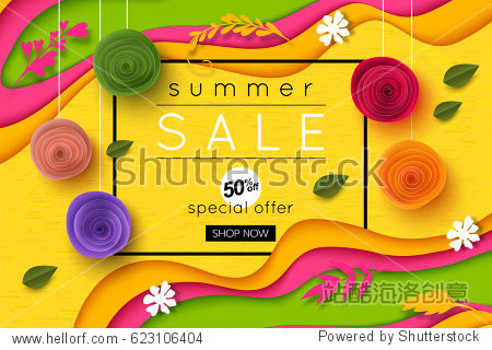 Summer sale background cut paper art style for banner  poster  promotion  web site  online shopping  advertising. Vector illustration with paper rose flowers.
