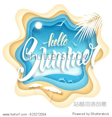 Paper art carving style design with hand drawn phrase Hello Summer and summer recreation elements. Vector illustration.