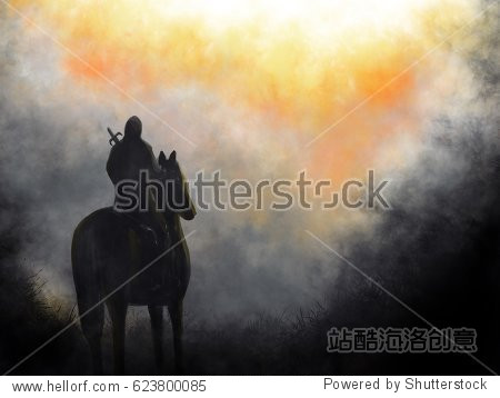 Lone Wolf Hero With Sword On Horseback Looking At Burning Scene Fantasy Illustration