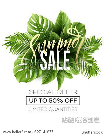 Sale banner  poster with palm leaves  jungle leaf and handwriting lettering. Floral tropical summer background. Vector illustration EPS10