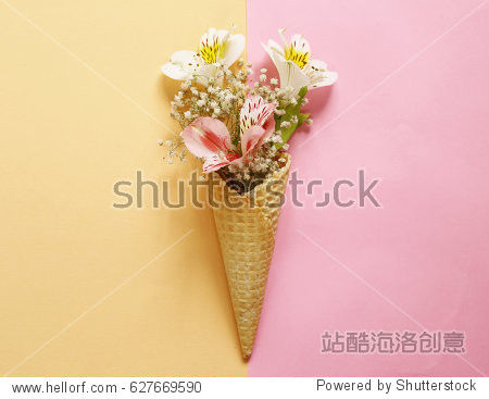 Waffle horn with spring flowers  vanilla style