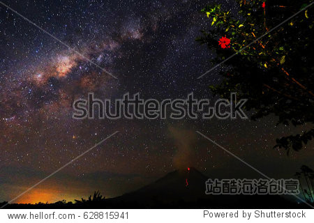 A general view of milky way during mount Sinabung eruption spew vulcanic matrial as seen in Karo district  North Sumatra  Indonesia.
