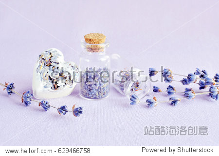 spa natural soap  bottle with lavender dry flowers  aromatherapy  healthy body concept
