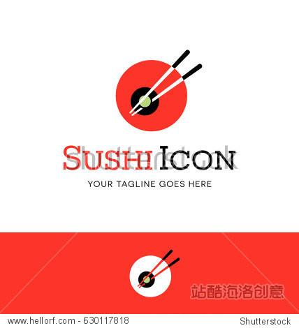 abstract circle sushi logo with chopsticks. Vector Icon.