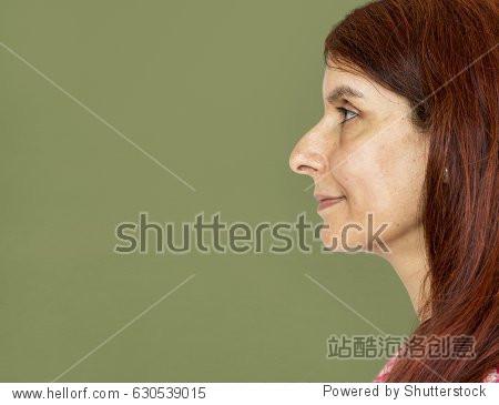 Adult woman smiling studio portrait