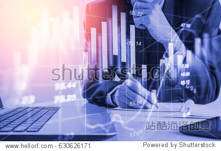 Business man analysis accounting cost on stock accounting invest chart. Stock financial overview in accounting market. Market invest strategy concept. Stock market financial invest strategy background
