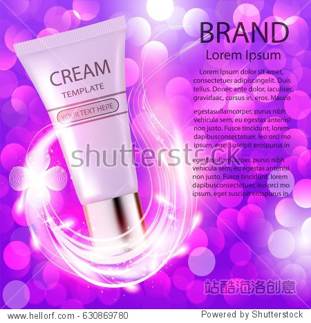 Illustration advertising cosmetics cream sparkling background