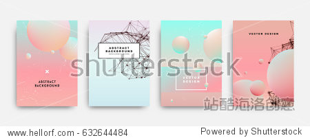Fluid shapes poster covers set with modern hipster and memphis background colors. Vector templates for placards  banners  flyers  presentations and reports.